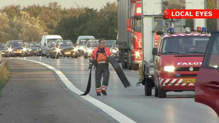 Ulykken skabte store køer på motorvejen